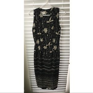 Jones New York Sleeveless Black & Beige Maxi Dress